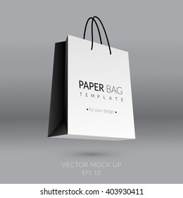 Realistic paper bag template. Vector illustration. EPS 10