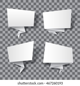 Realistic paper banners isolated on transparent background. 3d empty banners illustration. Eps10 vector paper origami banners.