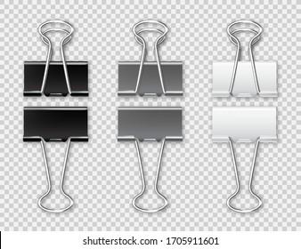 Realistic paper binders collection. Metal paper clip, holder. Design mockup. Vector illustration.