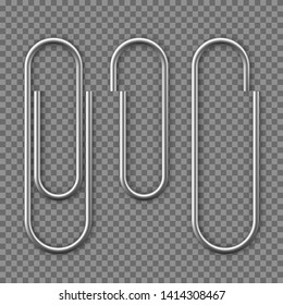 Realistic Paper clip attachment with shadow. Paperclip icon. Attach file business document. Vector illustration isolated on transparent background