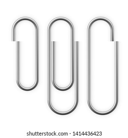 Realistic Paper clip attachment with shadow. Paperclip icon. Attach file business document. Vector illustration isolated on white background