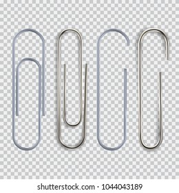 Realistic paper clip set. Isolated on white black transparent plaid background. Element for advertising and promotional message. Vector illustration for your design and business.