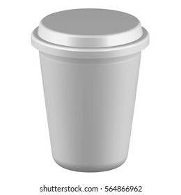 Realistic paper coffee cup mock up set isolated on white background vector illustration. Blank white 3d model takeaway disposable coffee cup with cap. Paper coffee cup template collection for branding