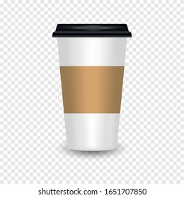 Realistic paper coffee cup with reflection. Empty Coffee Cup Mockup on transparent background