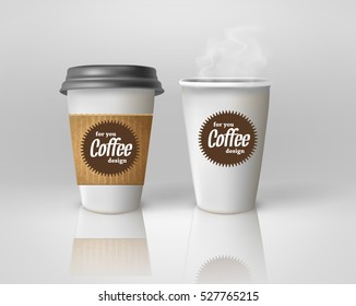 Realistic paper coffee cup set. Vector illustration EPS10 .