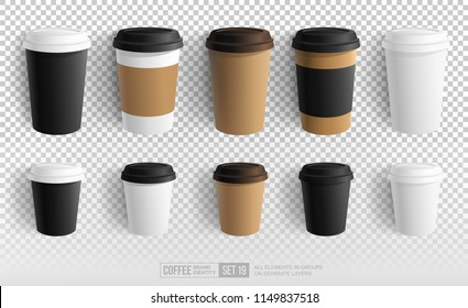Realistic Paper Coffee Cup - vector Blank Mockup for Cafe, Restaurant brand identity design and logo presentation. Black, White, Brown paper Empty Coffee Cup Mockup on transparent background