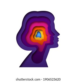 Realistic paper cut layered female human head. Colorful papercut woman silhouette on isolated background for personality or psychology concept.