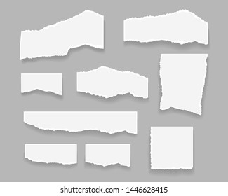 Realistic paper elements. Vector illustration. Isolated elements. Empty paper cardboards set.