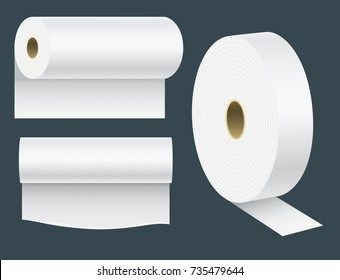 Realistic paper roll mock up set isolated vector illustration blank white 3d packaging kitchen towel template