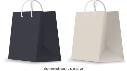 121f7ebb2f Realistic paper shopping bag. Empty shopping bag with rope handles for  advertising and branding.