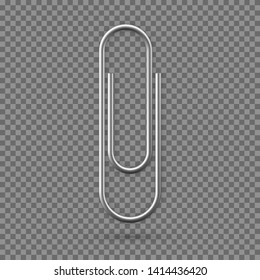 Realistic Paperclip icon. Paper clip attachment with shadow. Attach file business document. Vector illustration isolated on transparent background