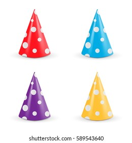 Realistic Party hat set. Collection 3d vector illustration isolated on white background. Vector illustration.