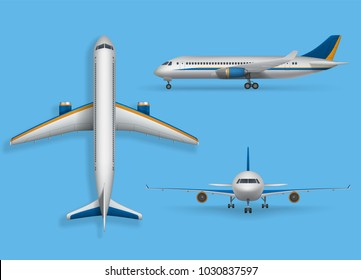 Realistic passenger airplane mock up, airliner in top, side, front view. Modern aircraft flight isolated on blue background. 3d airplane transport design. Vector illustration