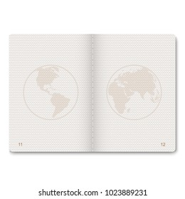 realistic passport blank pages for stamps. empty passport with watermark.