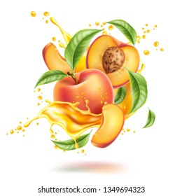 Realistic peach fruits with leaves, slices in juice splash flow. Juicy product package design. Whole peach, half with stone and leaf in fresh swirl. Vector natural drink design element.