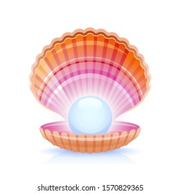 Realistic pearl in 3d shell, open seashell icon. Cartoon shining pearl shell vector illustration isolated on white background. Beautiful sea animal symbol. Watercolor color seashell.
