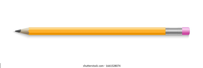 Realistic pencil. Isolated yellow wood graphic tool for school or college with eraser. 3d office stationery, draw instrument vector illustration