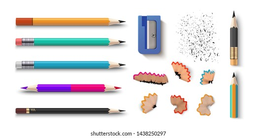 Realistic pencils. 3D colored school stationery with sharpener and shavings. Vector set isolated wooden graphite sharpened pencils with rubber of different size