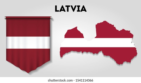 Realistic pennant and map with flag of Latvia