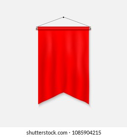 Realistic Pennant Template. Blank 3D Flag.
