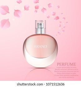 Realistic perfume bottle on abstract floral background, vector poster design