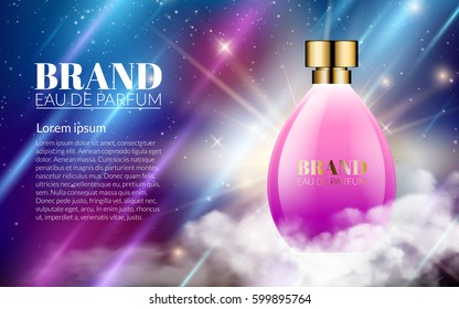 Realistic Perfume Pink Bottles Shine Blue Background. Luxury Beautiful Smoke and Smell. Excellent Cosmetics Advertising, Gentle. Package Design Sale or Promotion New Product. 3D Vector Illustration.