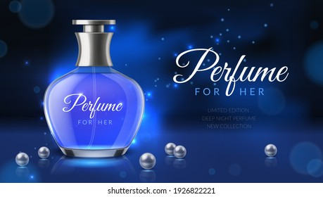 Realistic perfume. Women fragrance toilet water advertisement, luxurious cosmetics bottle ad poster template, glass 3d phial, cosmetic blank glamour promotional banner dark colors. Vector concept