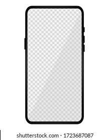 Realistic phone mockup. Modern phone design with blank transparent display. Front design. Presentation and infographic templates. Element for communication technologies and applications. Vector