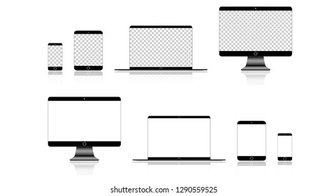 Realistic Phone, Tablet, Laptop and Computer monitor with white screen on blank background. Eps10