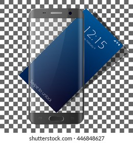 Realistic phone Vector Mock Up. Fully Re-size-able cell phone. Easy way to place image into screen Smartphone, for web design advertising.