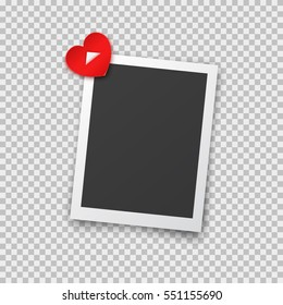 Realistic photo frame with shadow pin on red heart sticky tape. Old empty black snapshot isolated on transparent background. Vector picture for Happy Valentines Day or love design.