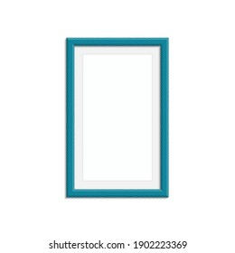 Realistic photo frame template isolated on white background. Blue blank picture frames for A4 image or text. Modern design element for you product mock-up or presentation. Vector illustration EPS 10