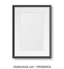 Realistic photo frame for wall. Vertical empty photo frame with copy space isolated. Minimalism style for home decor or business. 3d vector illustration