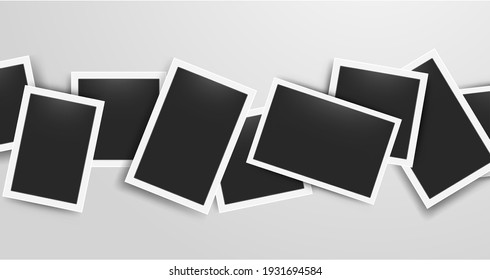 Realistic photo frames collage. Vector retro postcard template. 3D blank album snapshot with white frame on transparent background, horizontal decor empty photography card with shadow and copy space