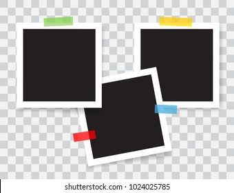 Realistic photo frames with color adhesive tapes, vector illustration on transparent background