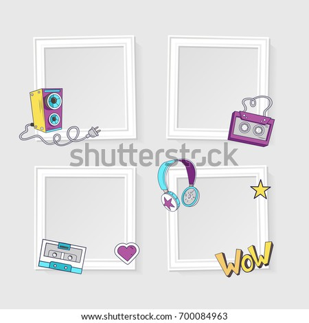Realistic Photo Frames Image Photo On Stock Vector (Royalty Free ...