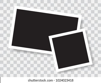 Realistic photo frames, vector illustration on transparent background