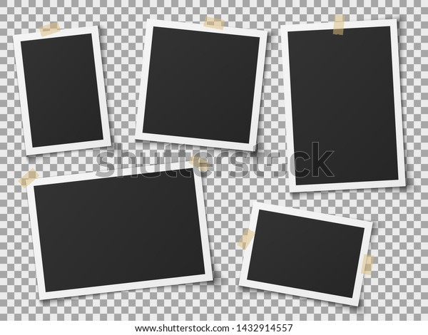 Realistic photo frames. Vintage empty photos frame with adhesive tapes. Images on wall, retro memory album. White blank square old card for photograph memories vector template