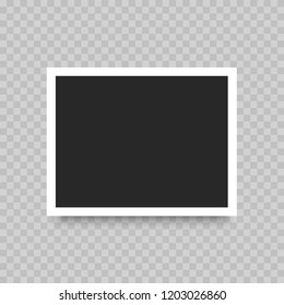Realistic photo polaroid  frame isolated on transparent background. Vector illustration.