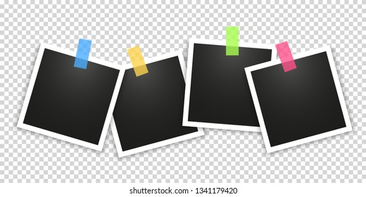 Realistic photo Polaroid frame isolated on transparent background. Vector illustration