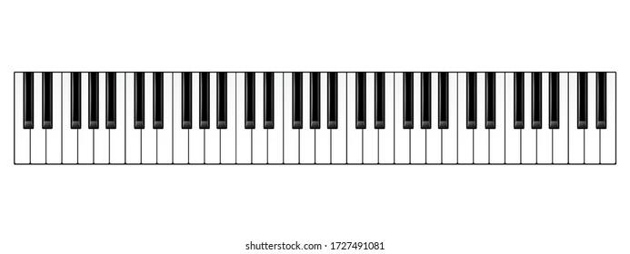 Realistic piano keys. Musical instrument keyboard. Vector illustration.