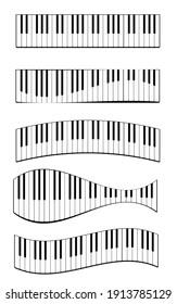 Realistic piano keys set. Musical instrument keyboard. Vector illustration.