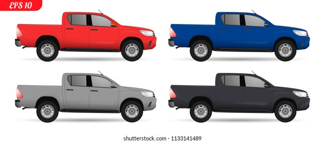 Realistic pick up car model. All elements set car in groups on separate layers. The ability to easily change the color. vector set of car illustration. Side view Pick up body. Pickup truck. 4x4 set
