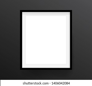 Realistic picture frame isolated on black background. Perfect for your presentations. Eps 10