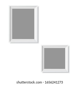 Realistic picture frame isolated on white background. Vector.
