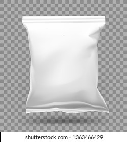 Realistic pillow bag on transparent background. Vector illustration. Easy to use for your. Can be use for template your design, promo, adv. EPS10.