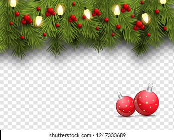 Realistic pine leaves, baubles and holly berries decorated on png background for Merry Christmas celebration.
