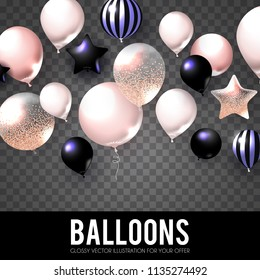 Realistic Pink and BlackGlossy, Transparent Balloons. Holiday, Sale and Party Decoration. Birtday. Wedding, Greetings, Congratulations, Anniversary, Win and so on. Vector illustration
