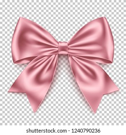 Realistic pink bow isolated on transparent background. Detailed decoration elements for Christmas, birthday, Valentine's Day, Women's, Mothers' Day, and other celebrations.