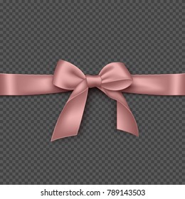 Realistic pink bow and ribbon. Element for decoration gifts, greetings, holidays. Vector illustration.